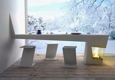 A Modern Fireplace in Kitchen Table by Michael Harboun