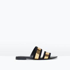 Image 1 of SHINY STRAPS FLAT SLIDES from Zara