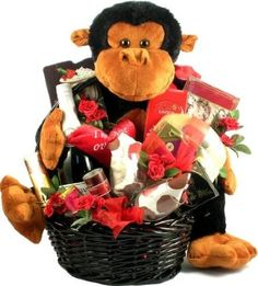 Cute, plush ape comes bearing Valentine gifts for a lucky couple! Wine glasses, sparkling cider and lots more accompany this large Valentine gift basket. Valentine Gift Baskets, Unique Valentines Day Gifts, Love Valentines, Valentine Ideas, Raspberry Bars, Romantic Gifts For Him, Romantic Ideas, Valentine's Day Gift Baskets, Dark Chocolate Truffles