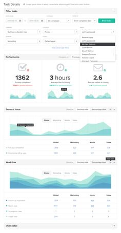 Dashboard w/ charts, stats and advanced filters - Found on dribbble.com
