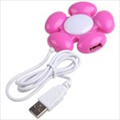 Flower Style USB 2.0 High Speed Mini 4-Port Hub Adapter for PC Laptop Notebook Computer (Assorted Color)  $4.60