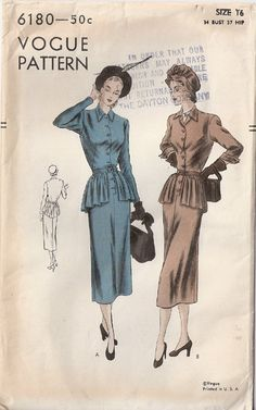 Vintage 40s Vogue Day Dress with Peplum by threemartinilunch, $38.00