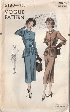 Vintage 40s Vogue Day Dress with Peplum by threemartinilunch, $38.00