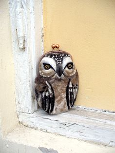 OWL Wet Felted coin purse