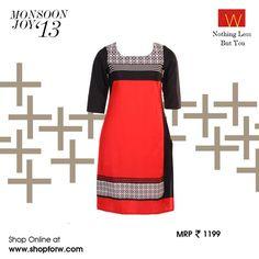 Take full advantage of the #colourblocking rage this season with this stunning red & black kurta. Make it yours www.shopforw.com #Ethnicwear #WGrace #Stylestatement
