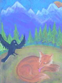 Age 08 ~ Aesop's Fables ~ Fox and the Crow ~ chalkboard drawing