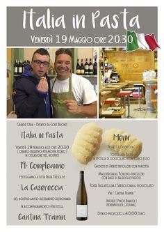 """Prenota al serata """" Italia in Pasta """" di Venerdì 19 Maggio dalle ore 20.30."""
