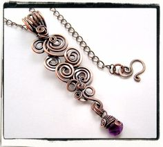 Cascading spirals pendant with amethyst gemstone dangle by Follow me