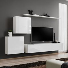 Brittani Switch V Entertainment Unit Metro Lane Colour: White/White High Gloss Living Room Tv Unit Designs, Home And Living, Decor, Home Living Room, Apartment Decor, Living Room Decor Apartment, Home, Living Room Tv, Living Room Tv Unit