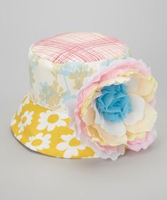 Take a look at this Yellow & Blue Rainbow Flower Stella Bucket Hat by Wiggy Studio on #zulily today!