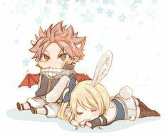 Natsu et Lucy en chibis - Fairy Tail