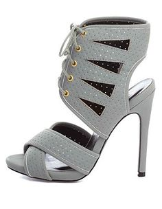 89c3e0d795e Qupid Perforated Cut-Out Lace-Up Heels  Charlotte Russe