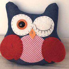 Denim Owl by dandelionandhoney on Etsy