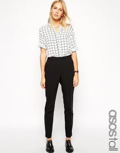 Image 1 of ASOS TALL Longer Length Cropped Trousers With Clean Waistband