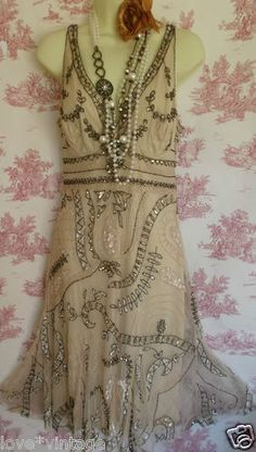 Principles Deco Charleston Flapper 20's Style Beaded Sequin Cream Gold Dress 12 | eBay. It would be nice if  the neckline was a crew neck and if the length was longer.