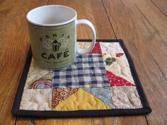 Two Scrappy Stars Mug Rugs or Candle Mats by Quiltedhearts5, $15.00