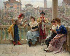 *Conversation on the terrace Venice; Eugene de Blaas*