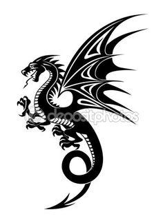 Черный дракон — стоковая иллюстрация #55855879