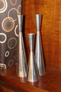 Mid Century Danish Modern Solid Chrome Sculptural Candleholders Set of Three | eBay