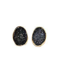 Dark Druzy Earring
