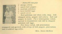 Roots From The Bayou: Family Recipe Friday ~ Potato Salad Retro Recipes, Old Recipes, Vintage Recipes, Cookbook Recipes, Cooking Recipes, Italian Recipes, Potato Dishes, Potato Recipes, Vintage Cooking