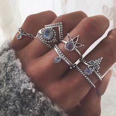 Boho-chic silver rings