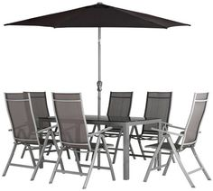 Collection Malibu 6 Seater Steel Patio Set Black At Argos Co Uk
