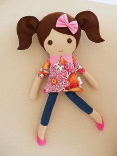 Reserved for Laura Fabric Doll Rag Doll Brown by rovingovine
