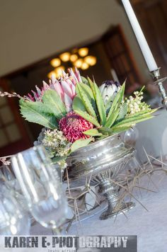 Silver Rose Bowl arrangement (Mixed Proteas, Aloes & Succulents
