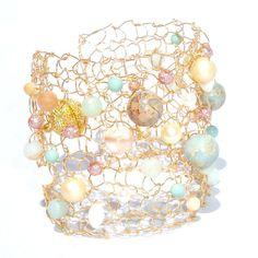 Amazonite Bracelet Gold Cuff Bracelet Arm Cuff by lapisbeach