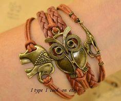 Big eye owl bracelet  Animals bracelet elephants by itypeicool, $5.99