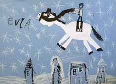 Svatý Martin na bílém koni. Vytvořili předškoláci v našem výtvarném studiu. Tuš, bílá pastelka. Martini, Studios, Snoopy, Movies, Movie Posters, Fictional Characters, Films, Film Poster, Cinema