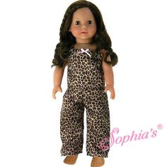 Doll Clothes Pjs Leopard Print Pajamas Compatible with American Girl