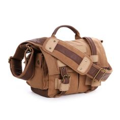 THG Brown Canvas DSLR SLR Camera Shoulder Handbag For f. Nikon Sony Canon Pentax Olympus #gymbags