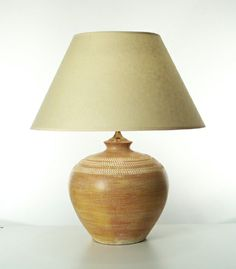 Captivating Udon Lamp In Amber. Height Of Lamp Base: 34cm. Lamp Base Diameter: