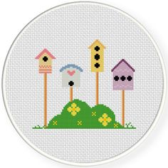 FREE for June 8th 2015 Only - Lovely Bird Houses Cross Stitch Pattern