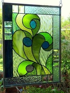 """Stained Glass Window Panel: """" Blue Berry Thrill """" 