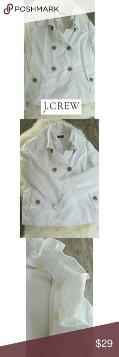 """J. CREW FRILLED PEACOAT STYLE JACKET  (A-21) Oh J. CREW...I DO SO LOVE YOU...This beautiful and versatile jacket combines the best of both worlds..sophistication and practicality of a superior quality...it features white cotton blend fabric with full lining, wood look buttons with convertible frill collar that detaches for a more casual look. Perfect for spring and chilly summer evenings, paired with slim fit capris, a denim mini, or a skater style skirt.   SIZE 2 ARMPIT TO ARMPIT: 17""""…"""
