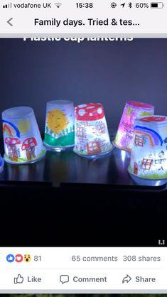 Fall night lamps - Sharpie decorated plastic cups over tea lights Preschool Art, Craft Activities For Kids, Toddler Activities, Projects For Kids, Diy For Kids, Crafts For Kids, Diy Crafts, Decorating Plastic Cups, Plastic Cup Crafts