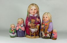 580  Nesting Doll 5 Pcs 6 3 inches Jolly Family Handmade | eBay