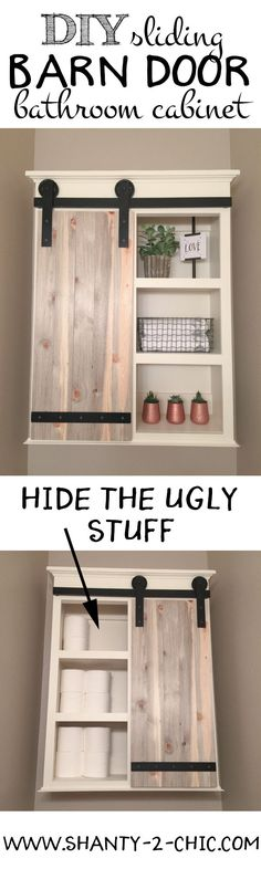 Build a custom Sliding Barn Door Storage Cabinet! Perfect for storage toilet paper and other items you don't want to be seen but also open shelving for decorating! Free plans at www.shanty-2-chic.com #storage #bathroomstorage #smallbathroom