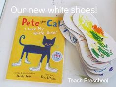 "Having fun reading the delightful children's book ""Pete the Cat"" by Eric Litwin and making our own white shoes too!"