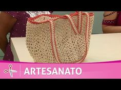 Vida com Arte   Sacola de praia em crochê endurecido por Carmem Freire - 09 de Março de 2017 - YouTube