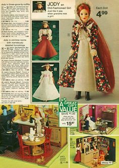 """Jody 9"""" Doll with Room Setting Accessories from the J.C. Penney Christmas Catalog, 1970's"""