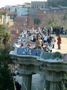 The famous Gaudi bench in Parc Guell, Barcelona