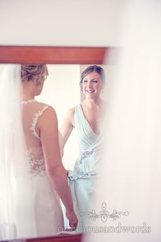 Bride And Bridesmaid In Mirror From Italian Villa Wedding Photographs Photography By One Thousand Words