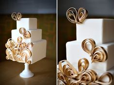 mod gold (and totally awesome) wedding cake