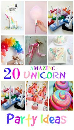 20 Amazing Unicorn Birthday Party Ideas for Kids   It's not easy coming up with unique birthday party ideas, but with so many great crafts, cakes and Invitations out there to make your Rainbow come to life then look no further because these are totally awesome.