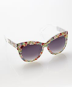 Red Floral Cat-Eye Sunglasses