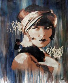 Grafite Estêncil de Mulheres dos Anos 50